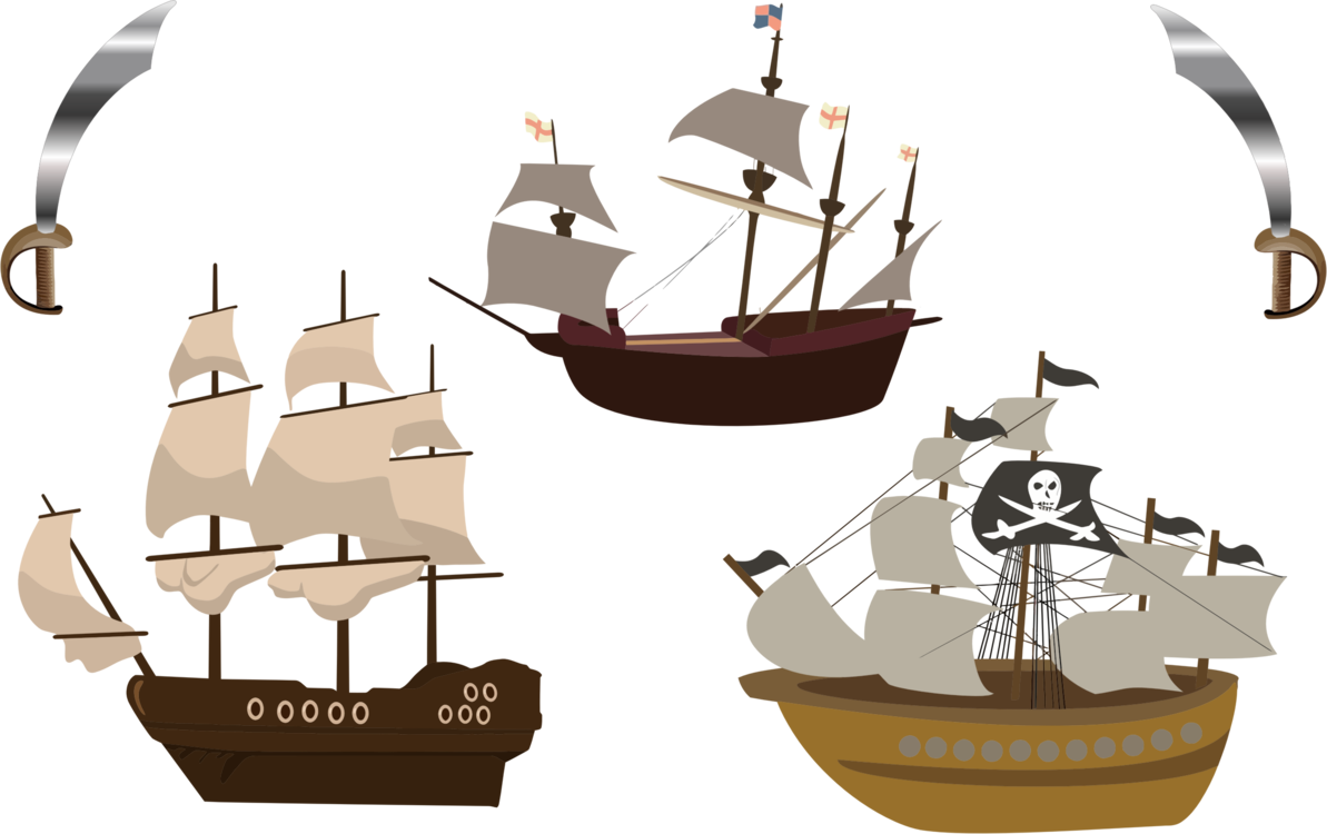 Caravel drawing pirate ship. Sailing boat free commercial