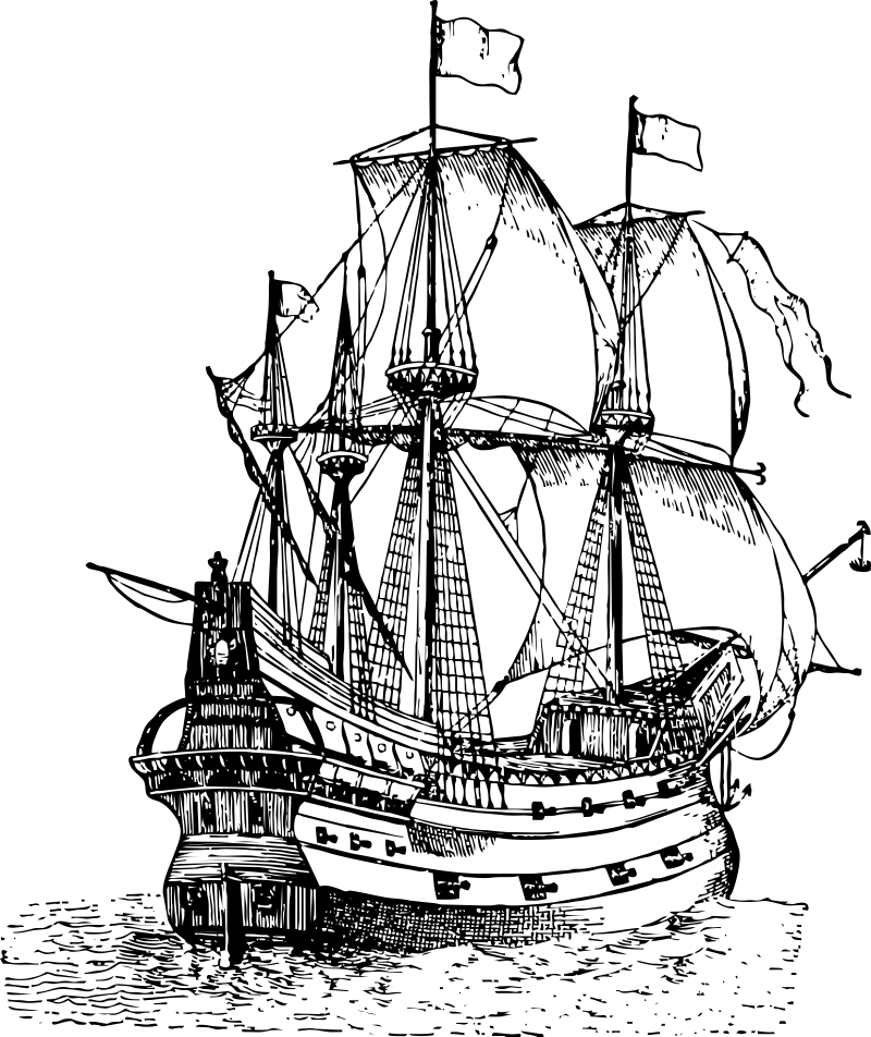 caravel drawing first fleet ship