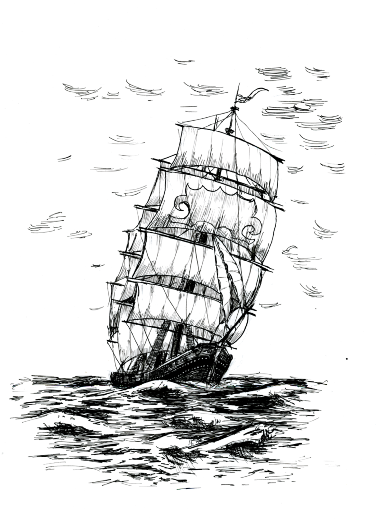 Caravel drawing sail ship. Lineart for free