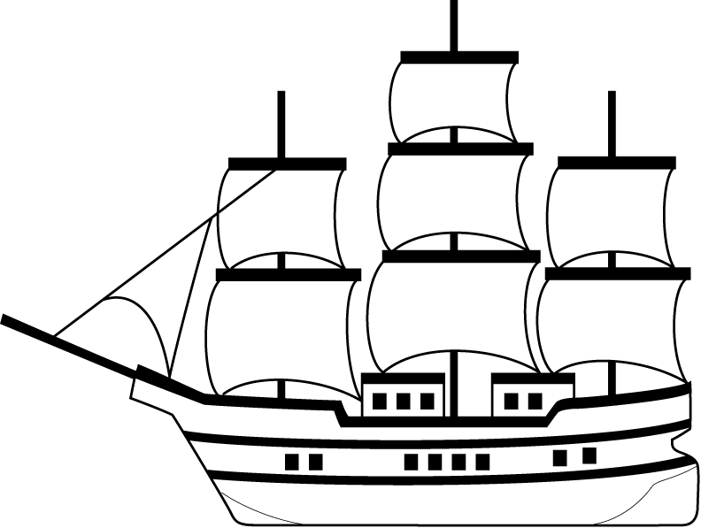 Caravel drawing ship. Boat clip art trade