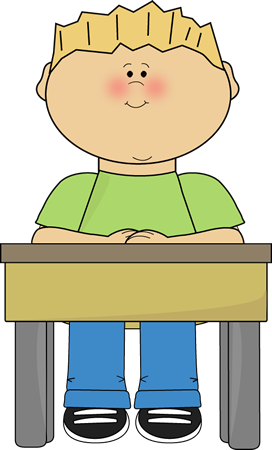 Card clipart school. Student sitting at desk