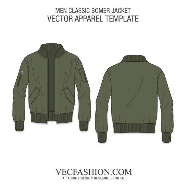 Vector hoodie draw. Men classic bomber jacket