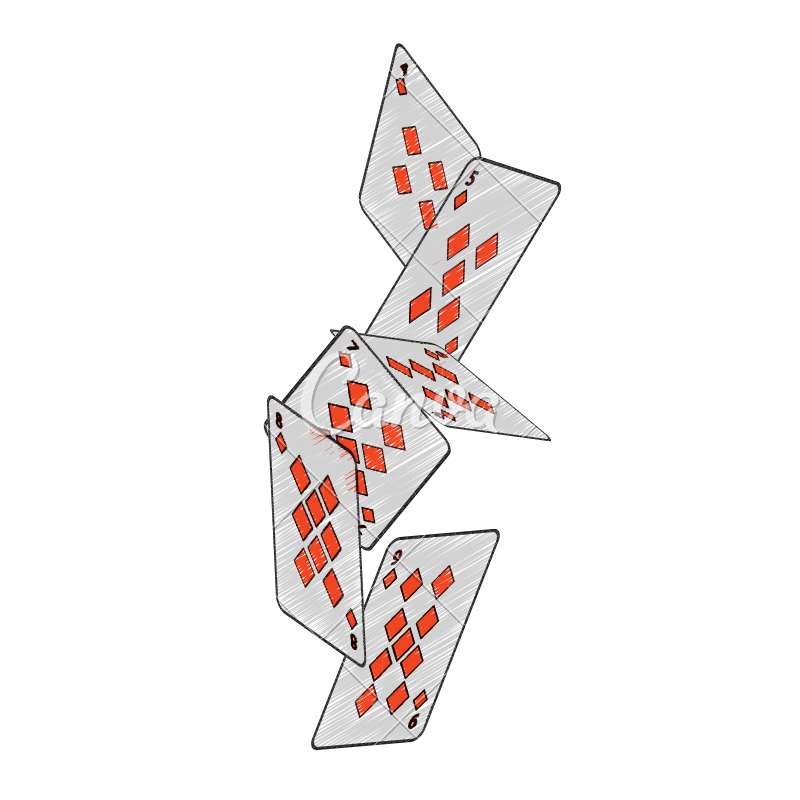 Cards falling png. Diamonds suit french playing