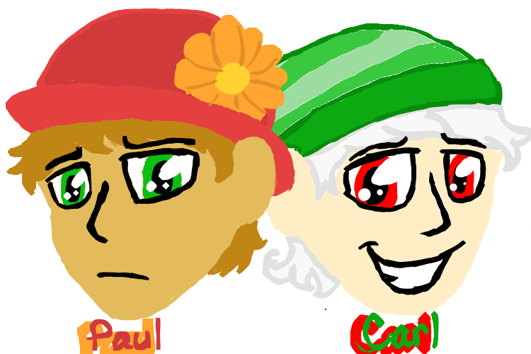 Carl the llama png. And paul as humans