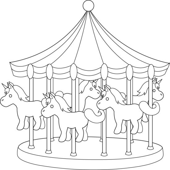 Carnival transparent carousel. Carousels drawings clipart