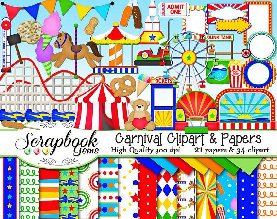 Carnival clipart roller coaster. Papers kit png clip