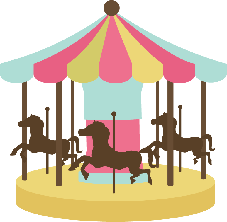 Carnival transparent carousel. Merry go round