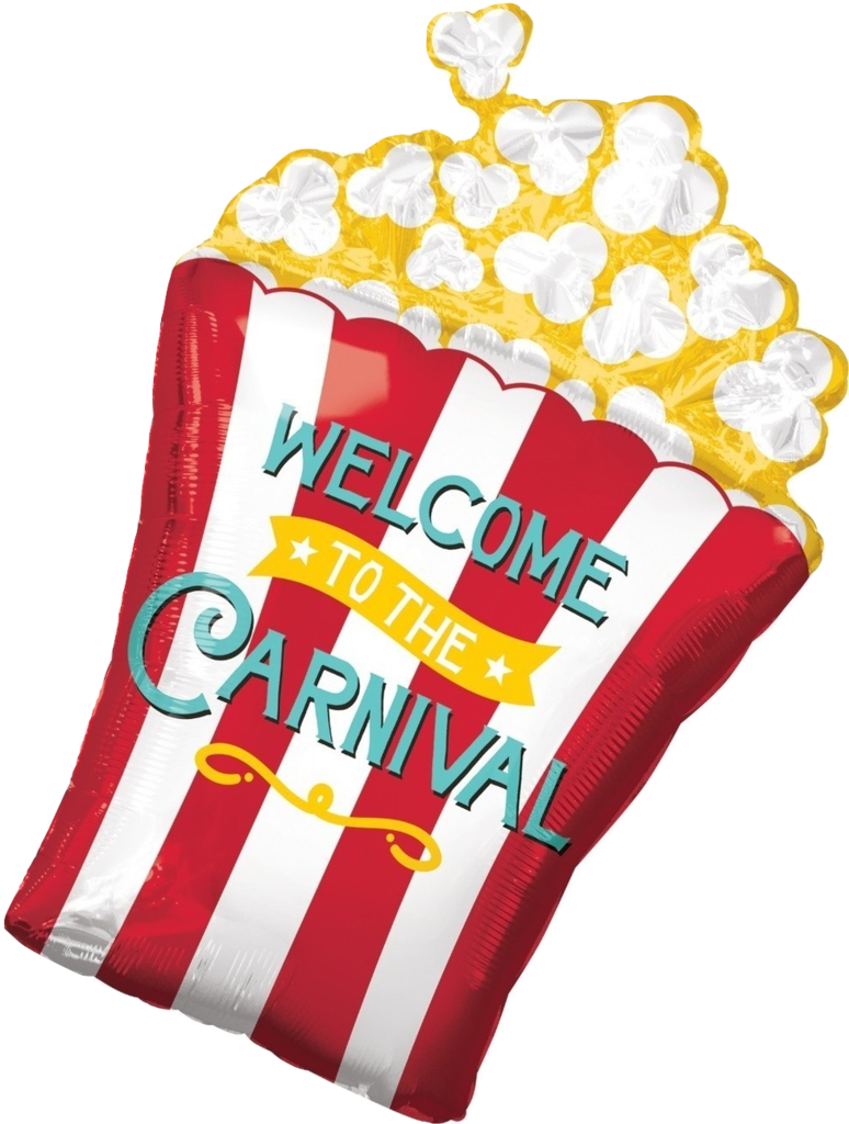 Carnival transparent welcome. Popcorn balloon food