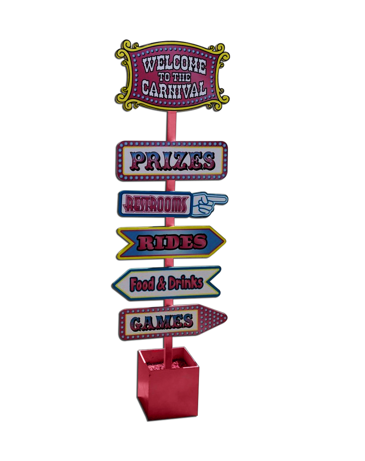 Carnival transparent welcome. Pink sign platinum prop