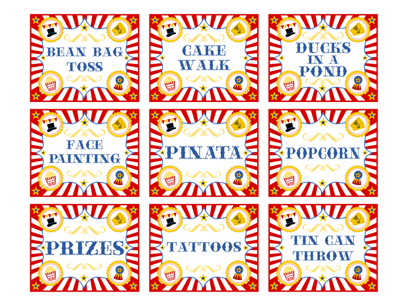 Carnival transparent sign. Free printable signs yelom