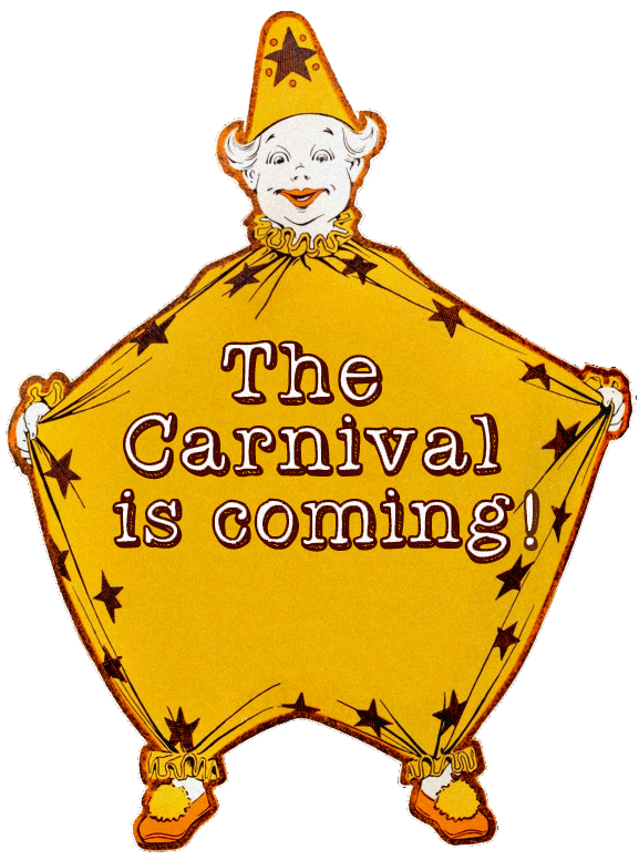 Carnival transparent vintage. The is coming clown