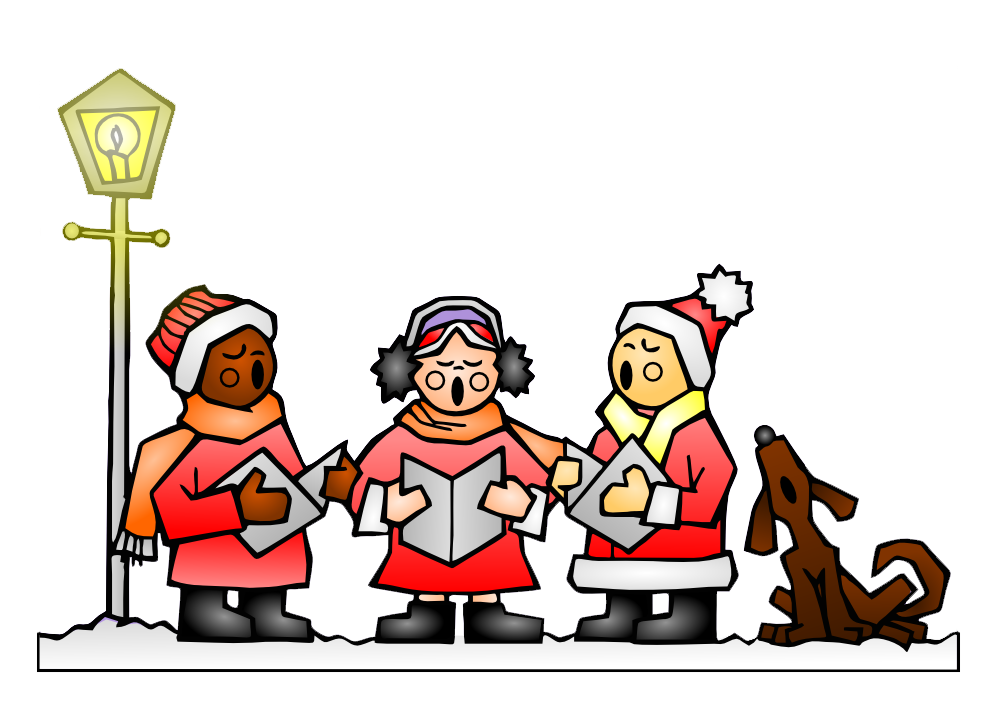 Caroling clipart group. Christmas in red hook