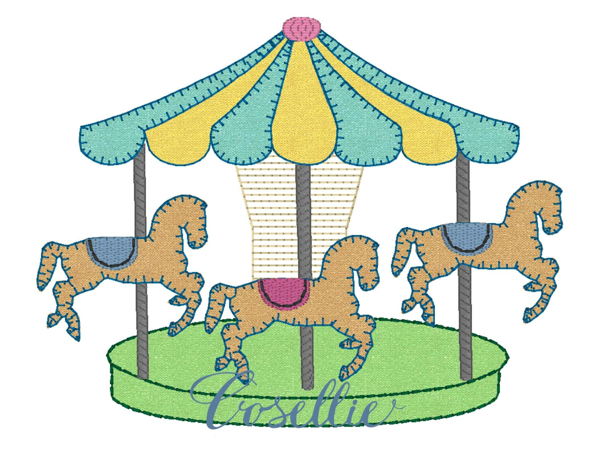 Carousel clipart baby blanket. Embroidery design cosellie