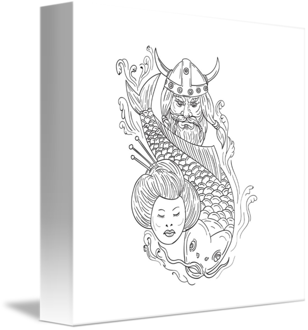 Carp drawing. Viking geisha head black