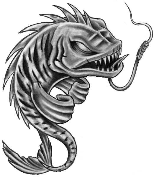 Transparent bone cartoon fish. Skeleton pisces tattoos stencil