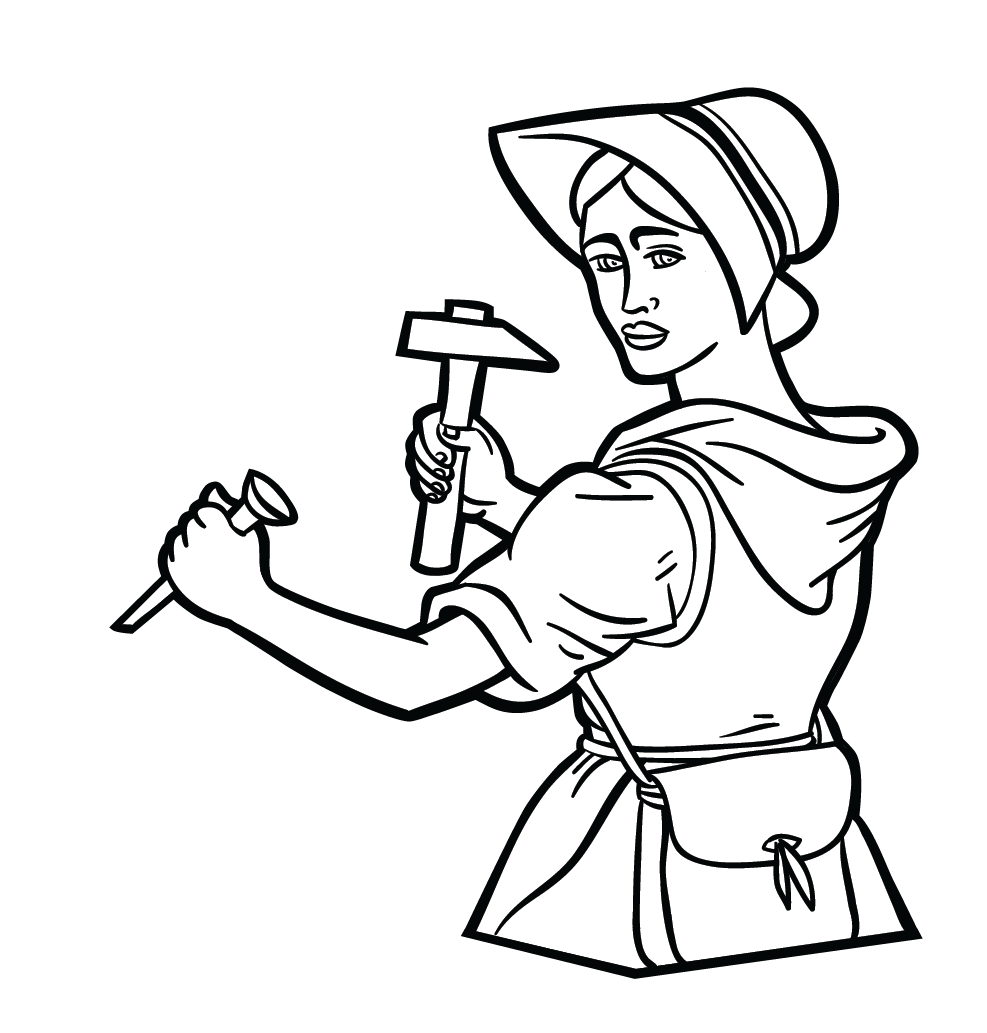 Carpenter drawing coloring page. Mary anning free colouring
