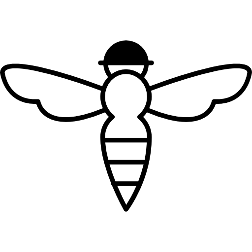 Vector path bee. With sting outline icons