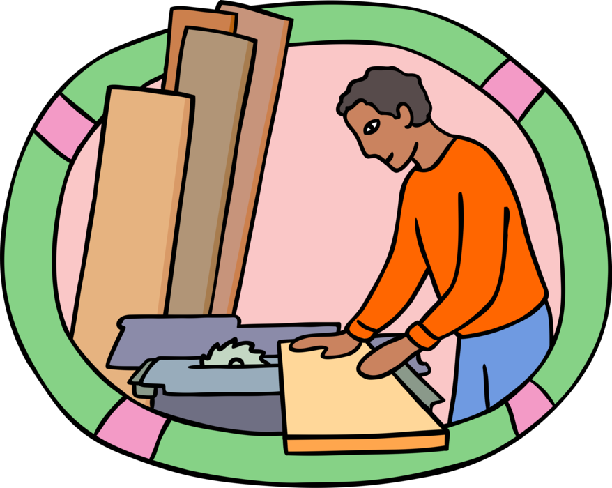 Carpenter vector. Works with wood on
