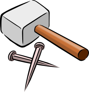 Carpenter vector hammer nail. Tools clip art at
