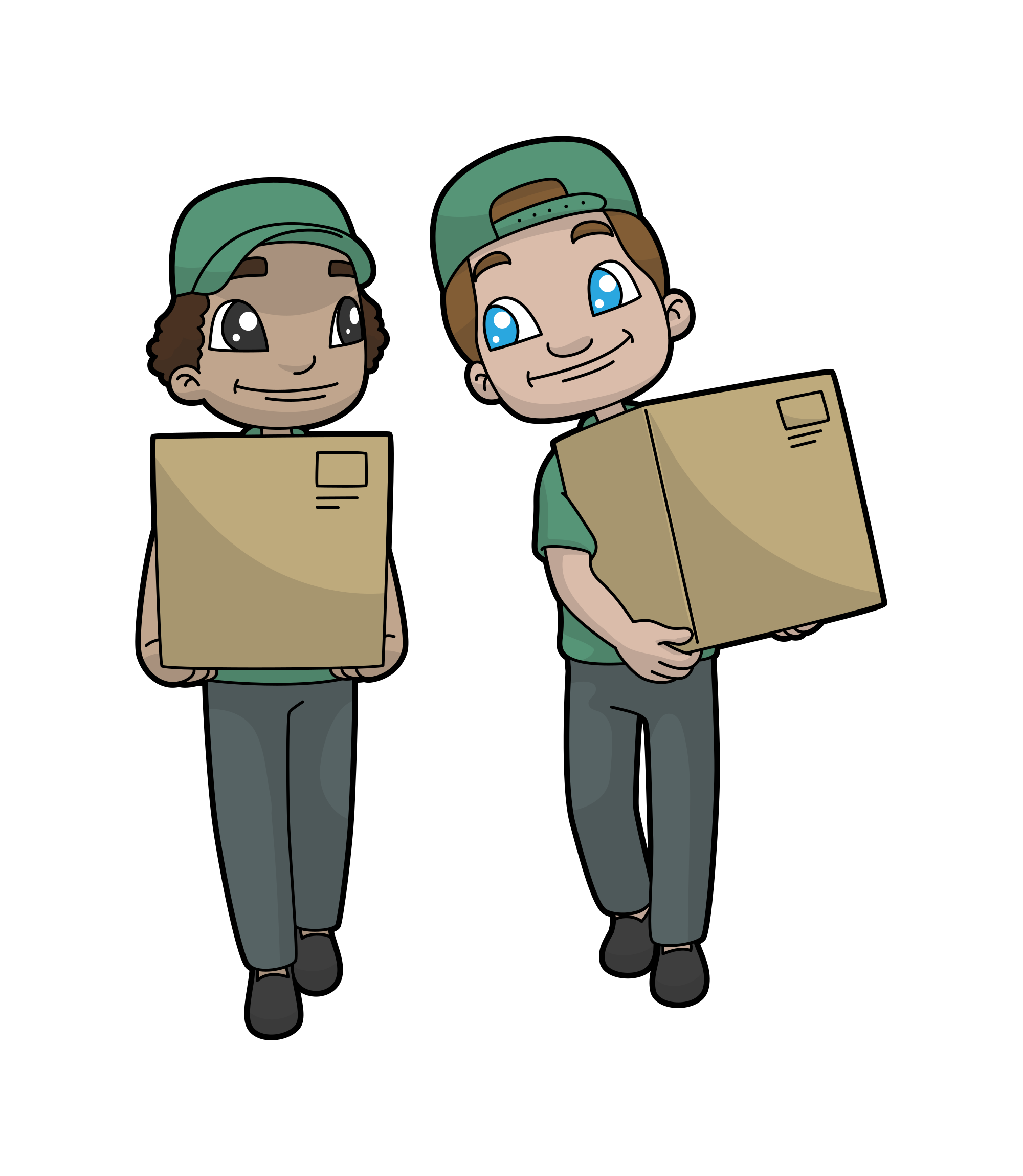 Svg boxes paper. File cartoon delivery workers