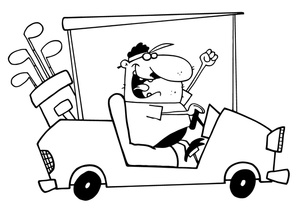 Cart clipart black and white. Golf image man driving