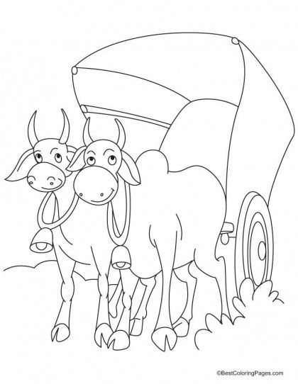 Cart clipart bullock cart. The harnessed by two