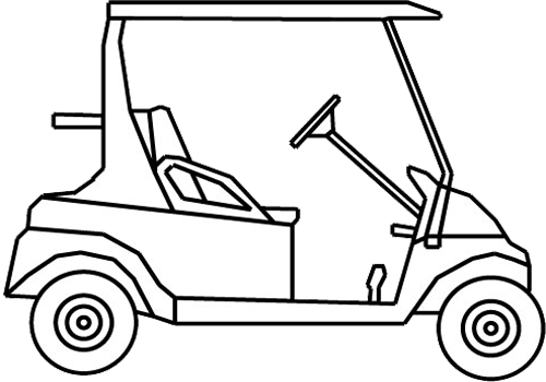 Vector sketches car. Golf cart drawing at