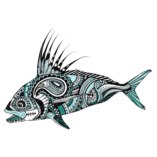 Cart drawing bulla. Andrea larko roosterfish sticker