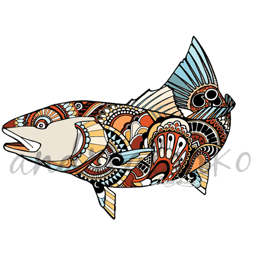 Andrea larko zentangle redfish. Cart drawing bulla banner library library