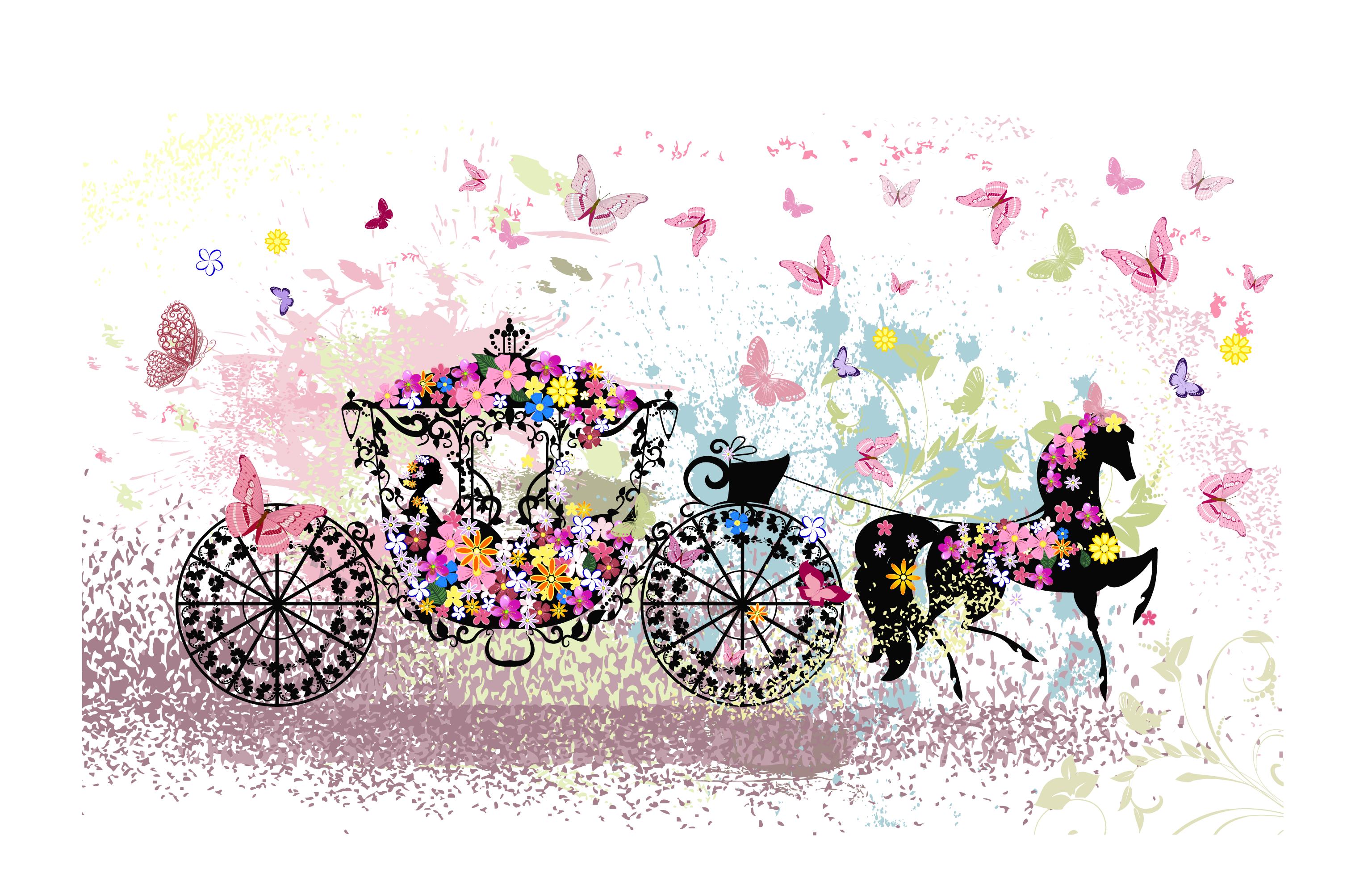 Cart drawing cinderella. Carriage pink cartoon fantasy