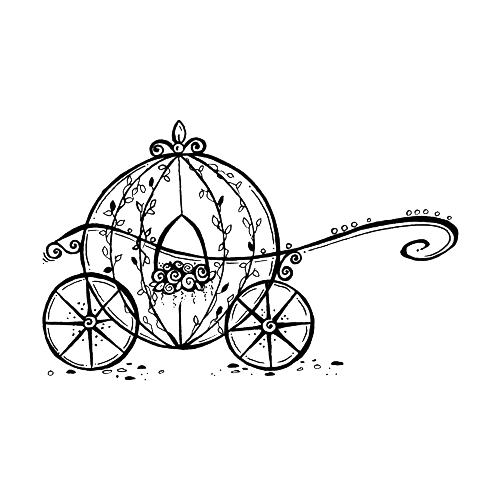 Cart drawing cinderella. Carriage horse and buggy