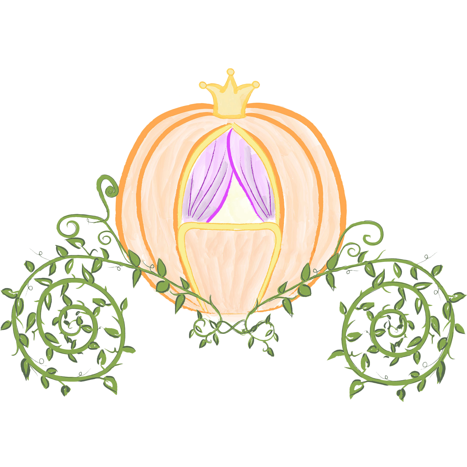 Cart drawing cinderella. Prince charming pumpkin carriage
