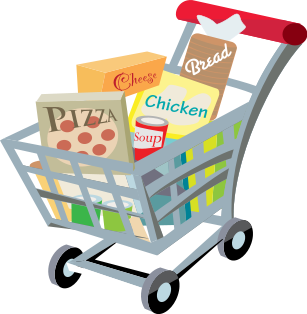 Cart drawing full. Shopping clip art free
