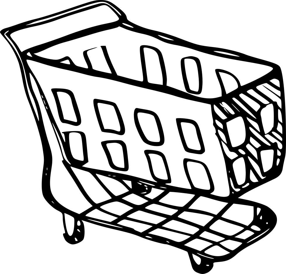 Cart drawing shopping basket. Red svg png icon