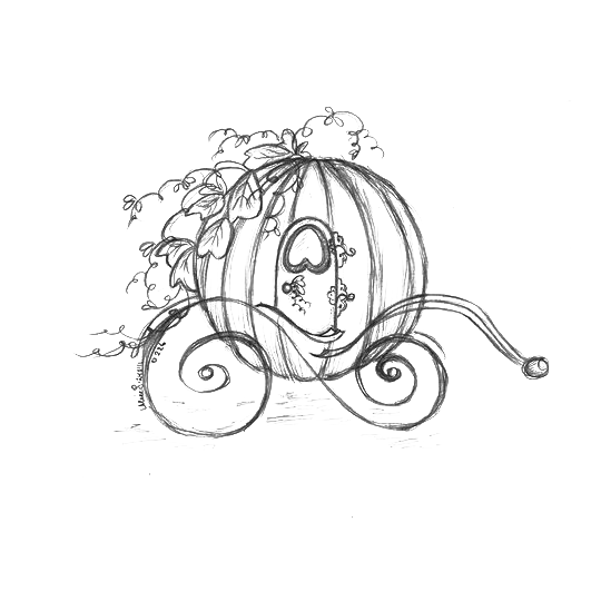Cart drawing sketch. Horse drawn carriage at