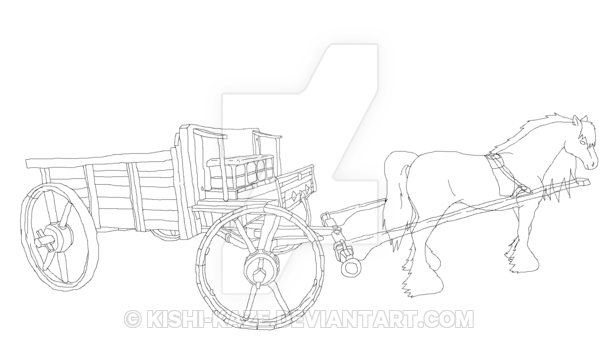 Cart drawing step by. Horse and kaze the