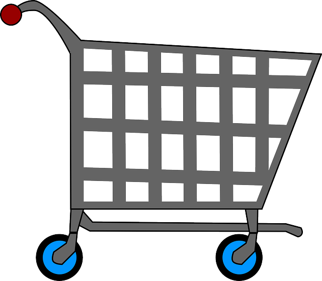Cart drawing sweet shop. Supermarket vector library