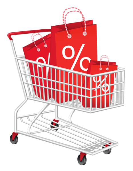 Trolley vector red. Supermarket library download