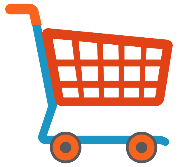 Cart drawing trolley supermarket. Vector library download