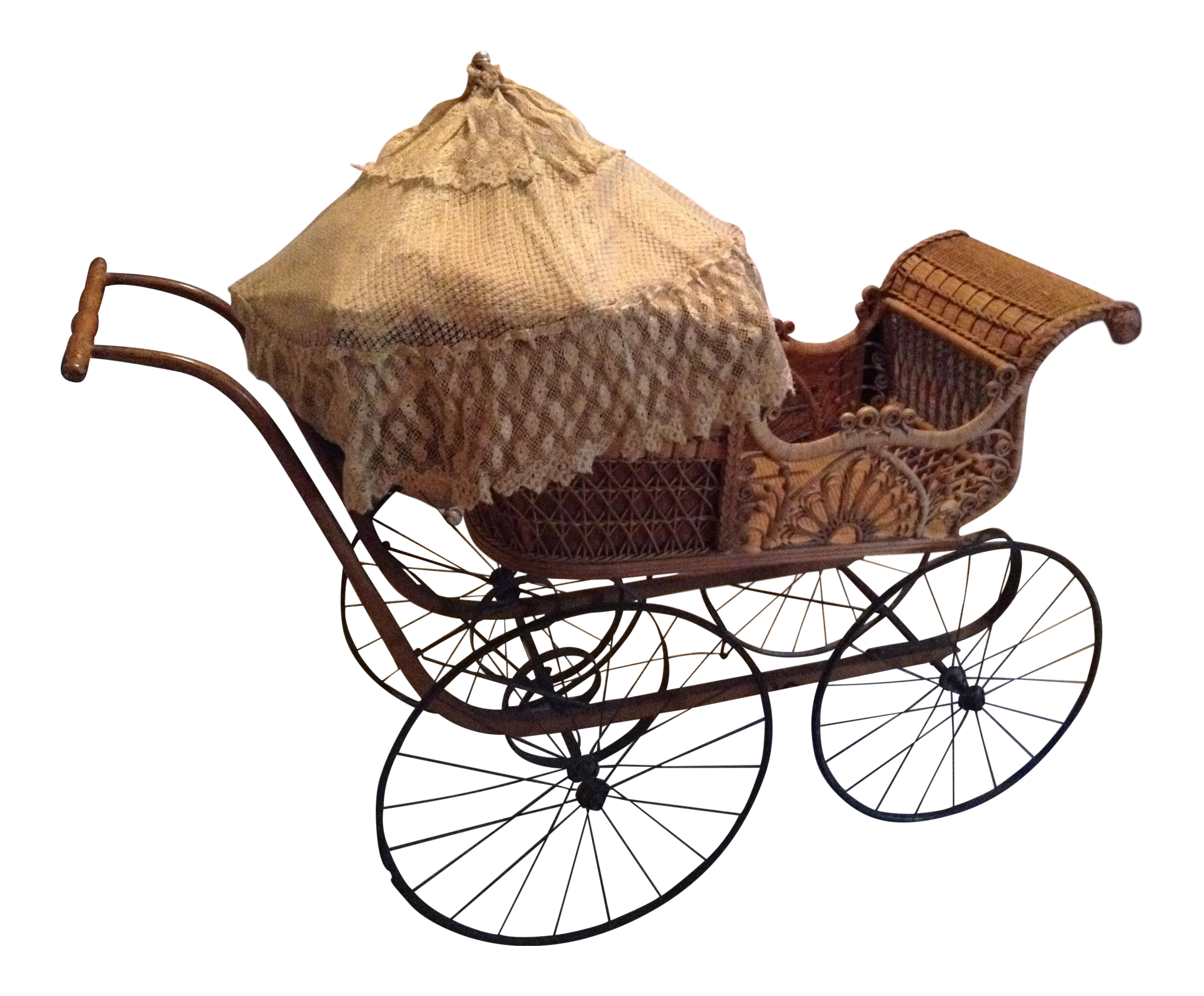 Cart drawing victorian. Wicker baby carriage chairish