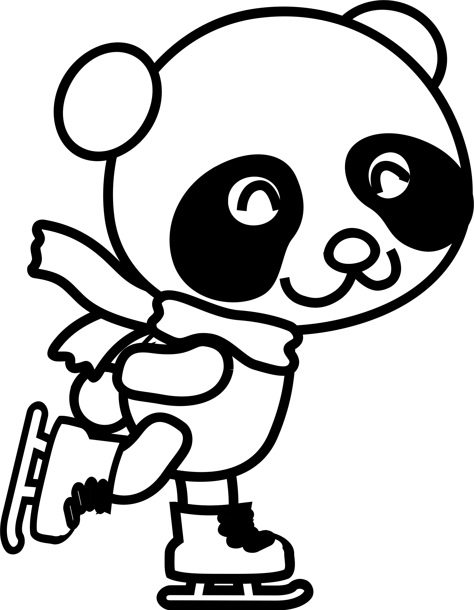 Cartoon panda coloring pages. Drawing moana cute baby svg black and white