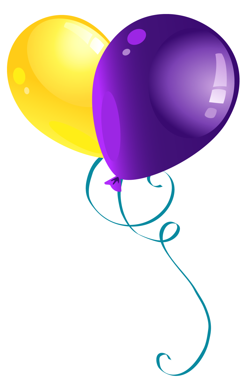 Purple balloons png. Yellow and clipart picture