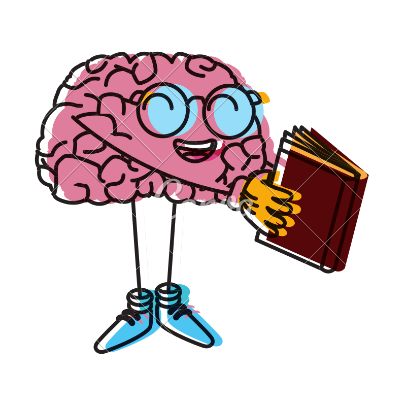 Cartoon brain png. Cute reading icons by
