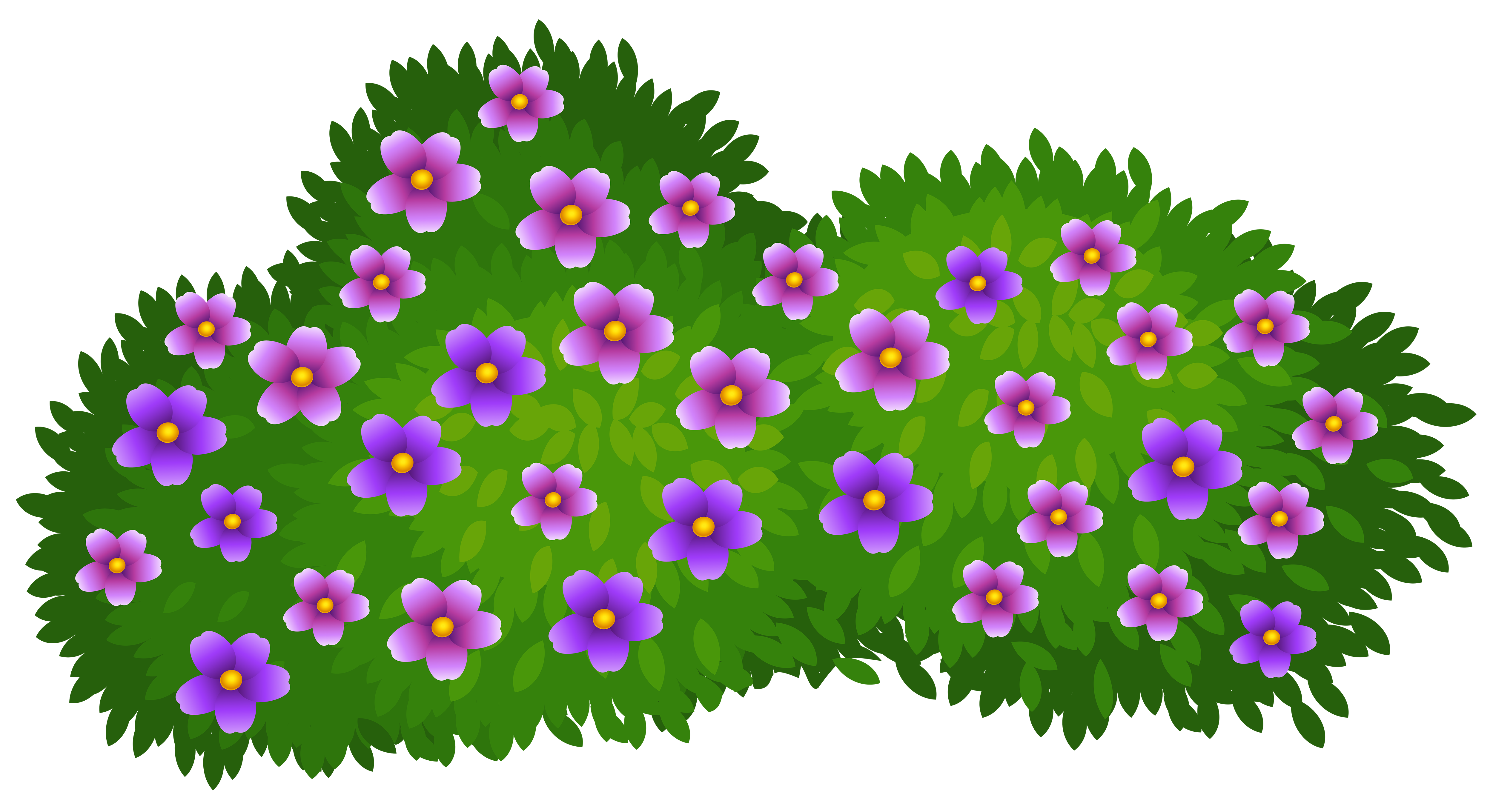 Cartoon bush png. Green with flowers transparent