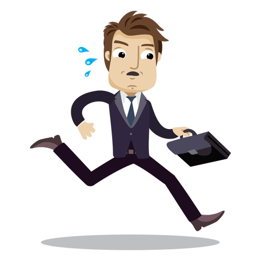 Cartoon businessman png. Running late transparent svg