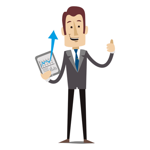 Showing chart tablet transparent. Cartoon businessman png clip art free library