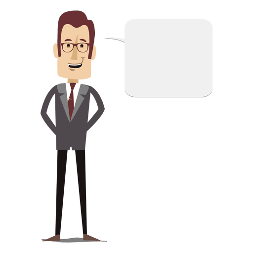 Cartoon businessman speaking png. Text bubble transparent svg