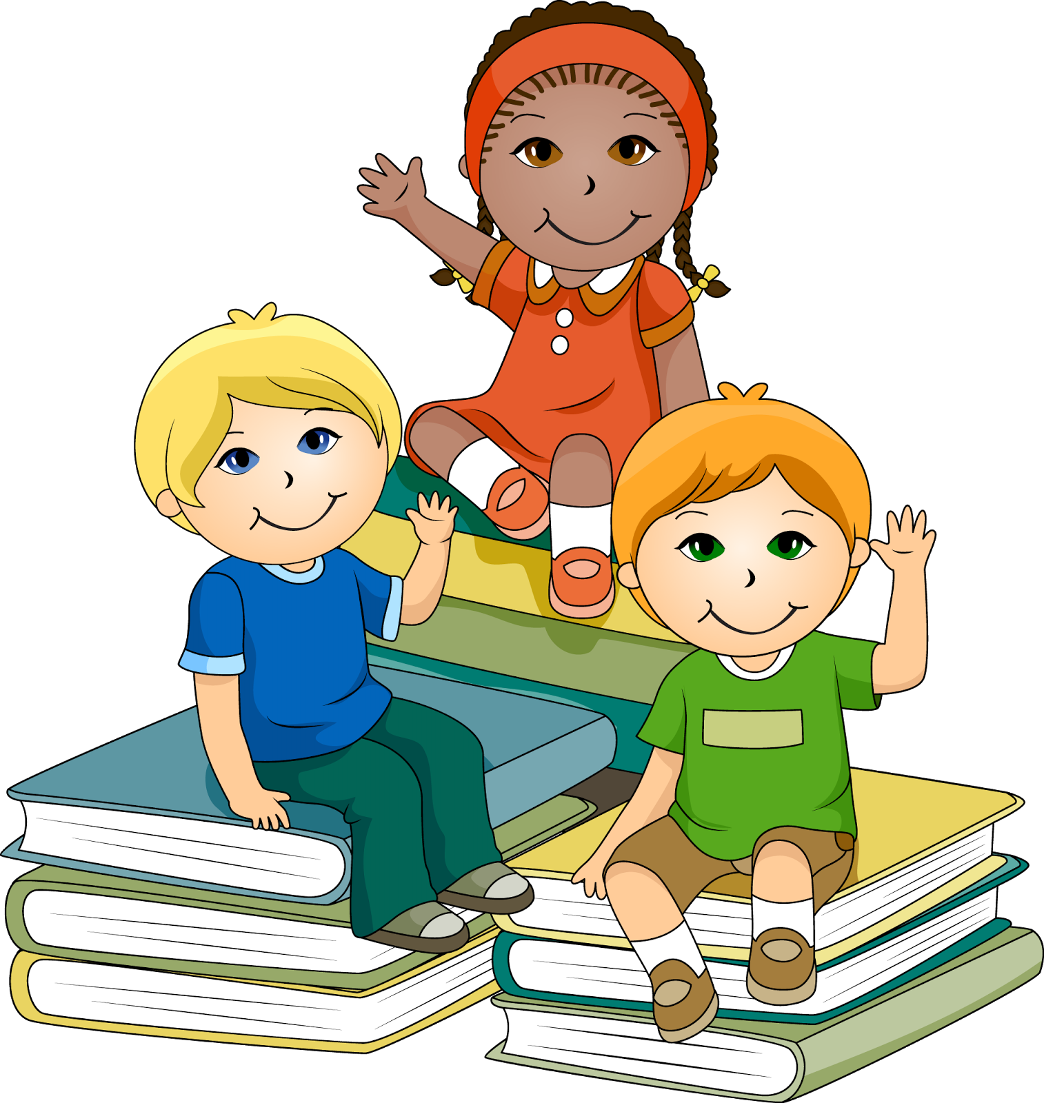 Cartoon child doing school work png. Kids learning clipart image
