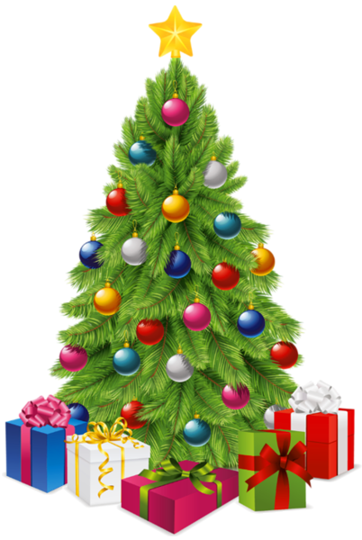 Cartoon christmas tree png. Transparent with gift boxes