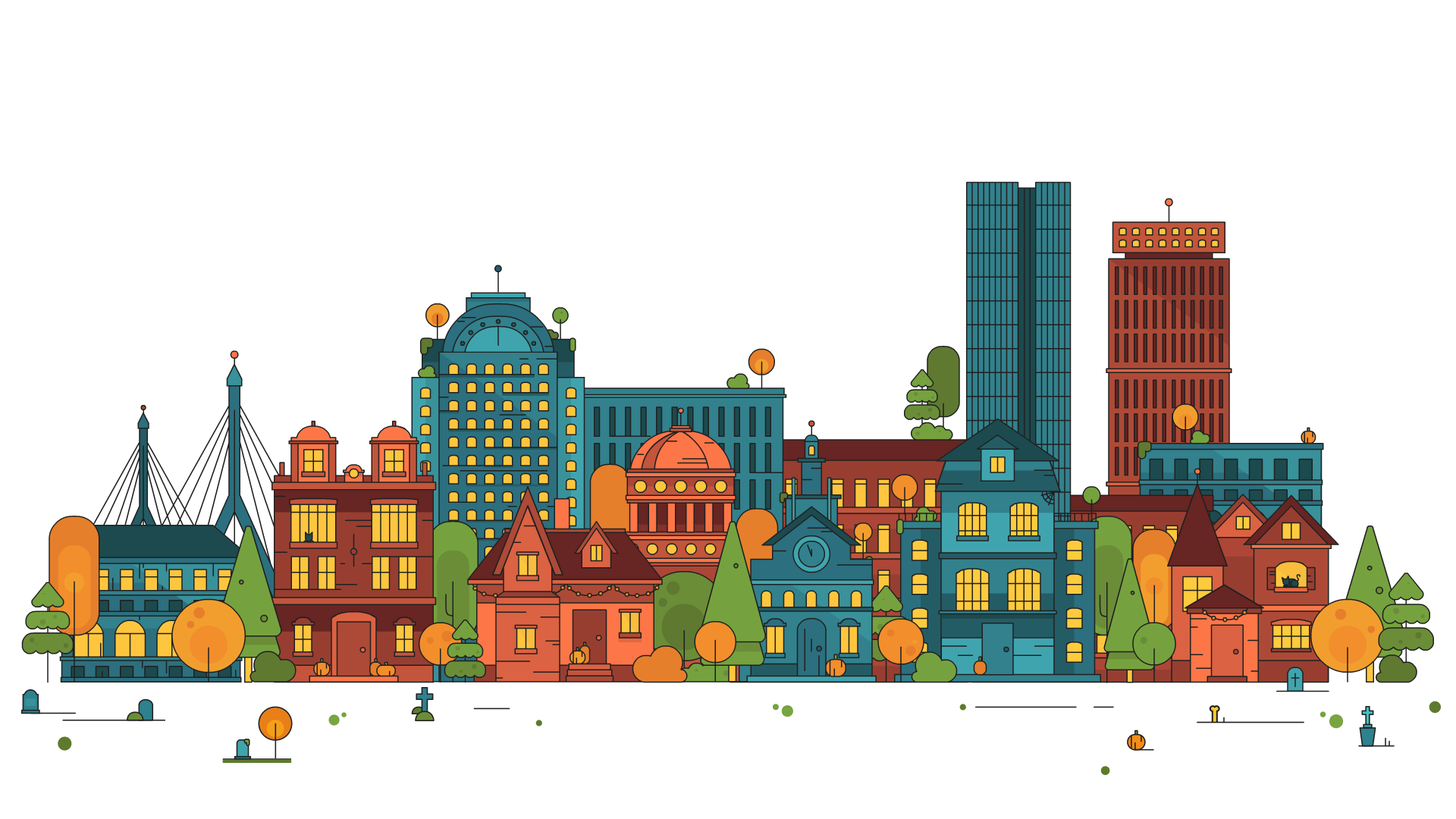 Cartoon cityscape png. Skyline animation transprent free